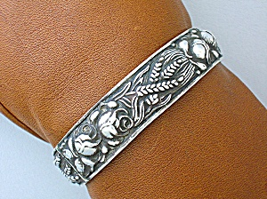 Silver Antique Hinged Bracelet Roses and Wheat 1940s (Image1)