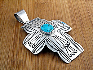 Pendant Sterling Silver Turquoise Cross Carson B (Image1)