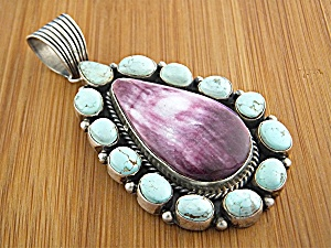 Pendant Sterling Silver Turquoise Spiny Oyster Signed L (Image1)