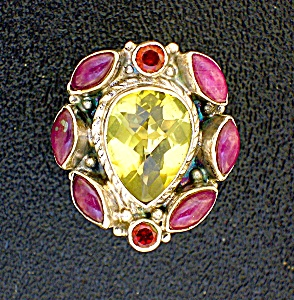 Citrine Ruby Garnet Sterling Silver Ring (Image1)