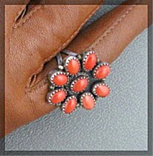 Native American Coral Sterling Silver Ring