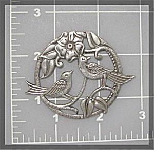 Sterling Silver Love Birds Brooch Pin (Image1)