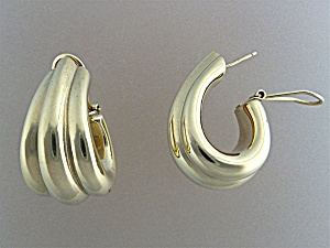 Earrings 14K Yellow Gold Pierced French  Clip (Image1)