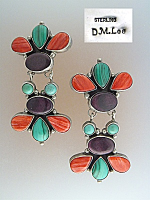 Native American Sterling Silver Gem DM Lee Clips (Image1)