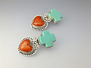Earrings Sterling Silver Apple Coral Turquoise GUNDI (Image1)