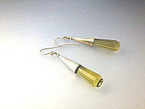Earrings Sterling Silver Citrine Glass Shepherd Hook (Image1)