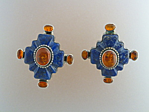 David Troutman & Gundi Sterling Silver Lapis Citrine Cl