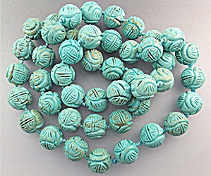 Necklace Carved Turquoise Hand Knotted Beads (Image1)