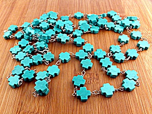 Gundi Turquoise Sterling Silver Crosses Necklace