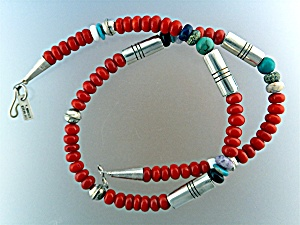 Navajotommy Singer Snr Coral Sterling Silver Necklace