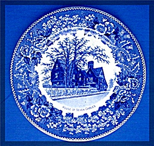 House of Seven Gables Souvenir Plate, blue transfer, (Image1)
