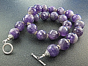Necklace Natural Amethyst Sterling Silver Toggle  Clasp (Image1)
