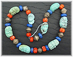 Necklace Carved Turquoise Animals Coral Lapis Silver  (Image1)
