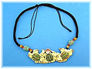 Necklace  Black Cord Bone Frogs Agate Beads (Image1)