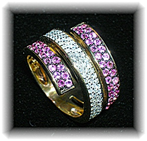 Ring 14K Gold Diamond and Pink Sapphire  (Image1)
