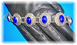 Sterling Silver  Lapis Ornate Toggle Clasp Bracelet (Image1)