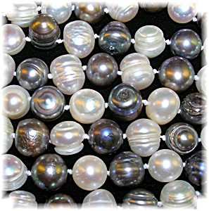 Grey and White 8mm Freshwater Pearl 54 Inch Necklace (Image1)