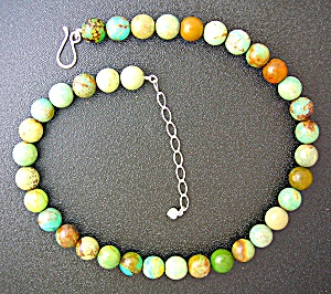 Green Turquoise 11mm Bead Sterling Silver Necklace (Image1)