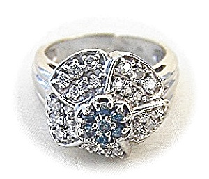 14K White Gold White and Green Diamond Flower Ring (Image1)