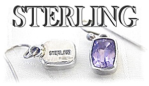 Sterling Silver Deep Purple Amethyst Earring