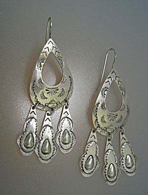 Fabulous Signed D Sterling Silver Dangly Earr (Image1)