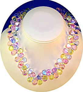 Clustered Grape  Blue Pink Green Lucite Bead Necklace (Image1)