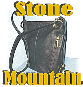 Large Black Stone Mountain Leather Bucket Bag (Image1)