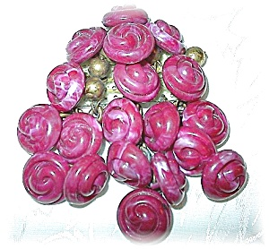 Unique Handmade Cranberry Button Brooch (Image1)