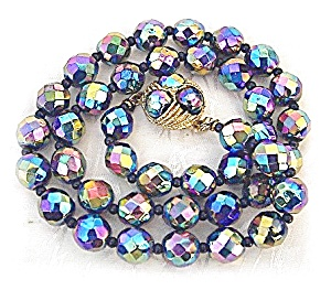 Glass Faceted Blue Pink Green Irridescent Beads (Image1)