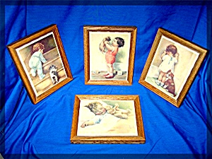 Bessie Pease Gutmann oak framed tiles set of four (Image1)