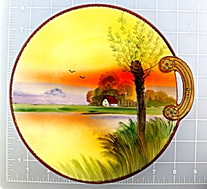 Nippon Monimuri handpainted plate w/ handle (Image1)