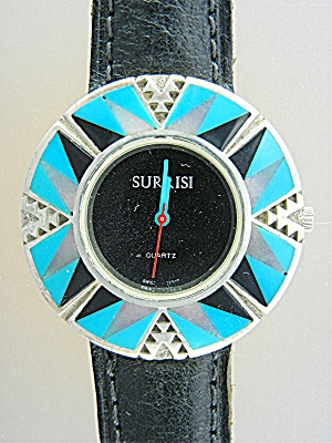 Surrisi Sterling Silver Inlays Turquoise Onyx Watch