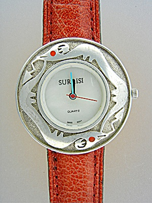 Surrisi Sterling Silver Santa Fe Serpent Watch Coral Ey