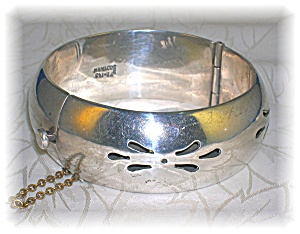 Sterling Silver Taxco Wide Bangle Bracelet (Image1)