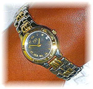 Silver Gold ESQ Ladies Wristwatch Black Face Date (Image1)
