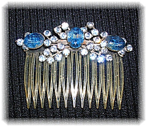 Blue and White Crystals  Rhinestone Hair Comb (Image1)