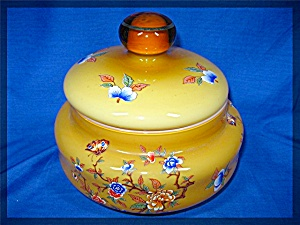 Glass candy dish with lid amber coller gold trim floral (Image1)