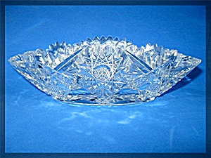 American Brilliant Cut Glass Oval Relish Dish