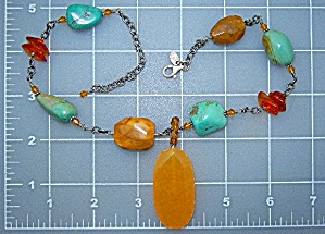 Silpada Turquoise Jasper Amber Sterling Silver Neckla