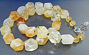 Citrine Faceted Sterling Silver Necklace