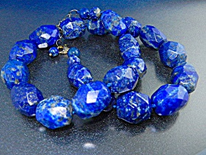 Lapis Faceted Hand Knotted And Sterling Silver Necklac