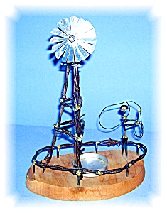 HAND MADE WIND MILL SCULPTURE, BARBED WIRE... (Image1)