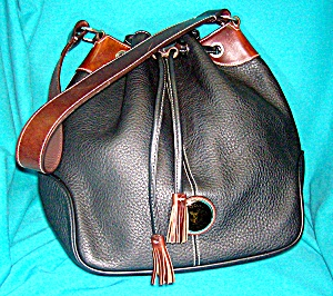 Dooney And Bourke Black Tan Leather Bucket Bag