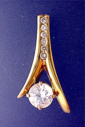 Pendant 14K Gold Diamond Center CZ (Image1)