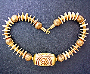 Bone Carved Bead Necklace
