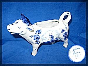 COW Milk Creamer DELFTS BLUE Hand Painted Ceramic 6.5 (Image1)