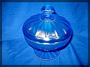 Candy Dish In Blue Stretch Glass Lidded And Footed