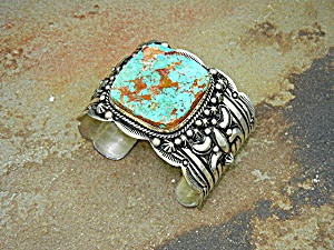 Native American Turquoise Sterling Silver Cuff Gabby