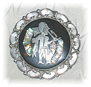 STERLING SILVER BLACK ONYX MOTHER OF PEARL... (Image1)