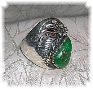 Sterling Silver Mans Green Turquoise Signed R.B Ring (Image1)